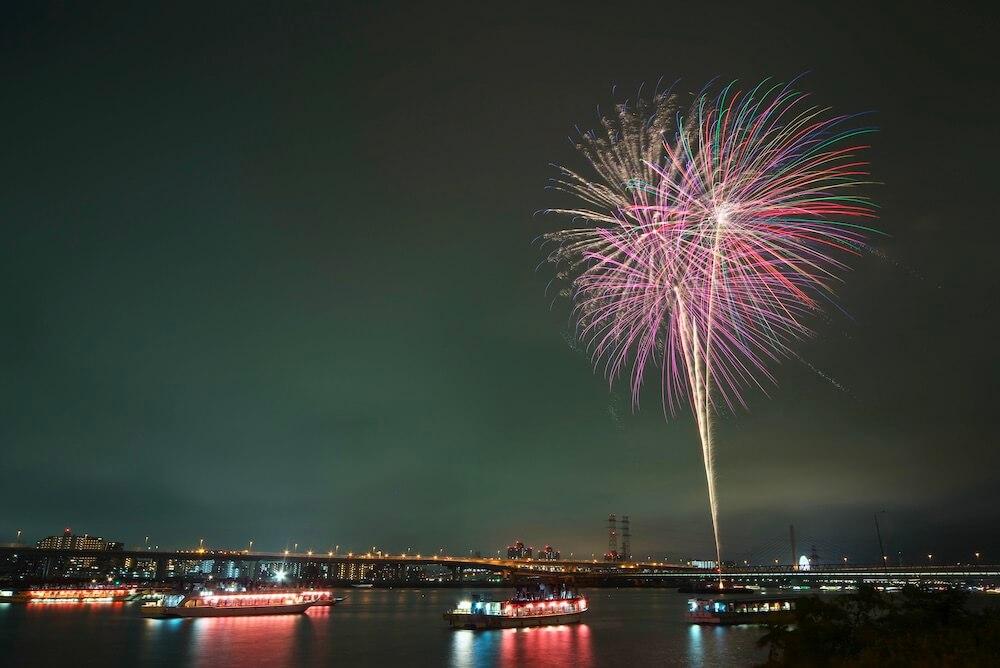 江東区花火大会と屋形船